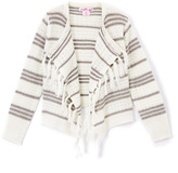 Pink Angel Off White & Gray Stripe Fringe Cardigan - Toddler & Girls