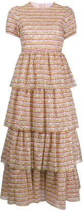 RED Valentino Sequin-Embellished Tiered Dress