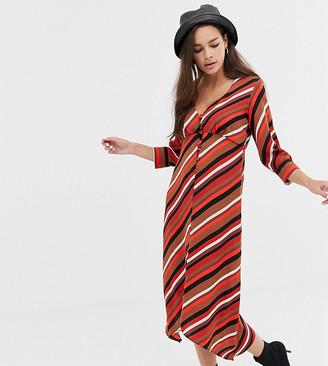 Bershka button front stripe scarf dress in multi