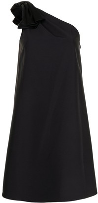 Aidan Mattox Satin-Bow One Shoulder Dress