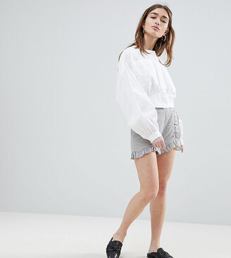 Lost Ink Petite Tailored Shorts With Ruffle Seams