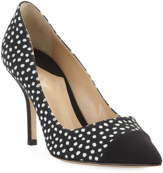 Paul Andrew Pump It Up Dotted Pointed Cap-Toe Pumps