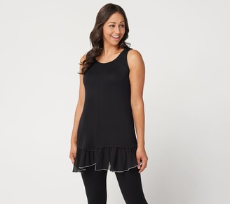 Logo by Lori Goldstein LOGO Layers by Lori Goldstein Tank with Chiffon Asymmetric Hem
