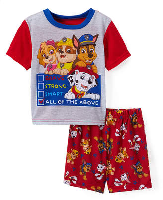 AME Sleep Bottoms - PAW Patrol Red & White 'Brave Strong Smart' Two-Piece Shorts Pajama Set - Toddler
