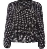 Dorothy Perkins Womens Black Spotted Wrap Blouse- Black