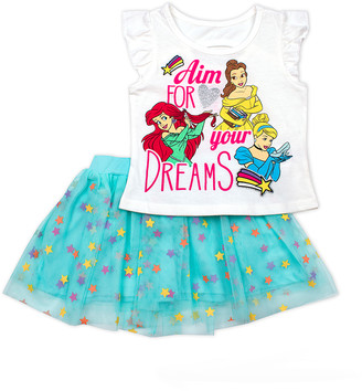 Children's Apparel Network Girls' Casual Skirts OFFWH - Disney Princess Off-White 'Dreams' Tee & Blue Stars Skirt - Toddler