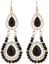 Natasha Accessories Double Tier Glass Beaded Drop Earrings