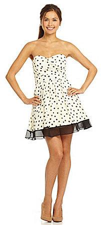 Teeze Me Strapless Polka-Dot Dress