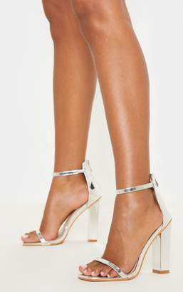 PrettyLittleThing Silver Square Toe High Block Heel Sandal