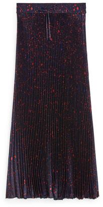 Arket Long Pleated Satin Skirt