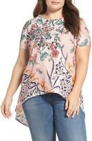Glamorous Plus Size Women's Open Back Print Top