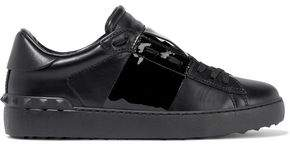 Valentino Garavani Studded Smooth And Patent-leather Sneakers