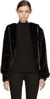Helmut Lang Black Faux-mink Hooded Bomber Jacket