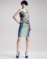 Scale-Print Pencil Skirt