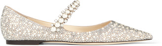 Jimmy Choo BAILY FLAT Ballet Pink Suede Mary Jane Flats with Crystal and Pearl Embellishment