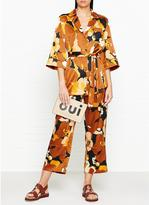 Whistles Abstract Floral Silk Satin Crop Trousers