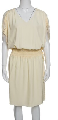 Chloé Vanilla Yellow Smocked Waist Lace Insert Tie Detail Dress M