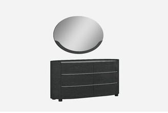 Shirely 6 Drawer Dresser with Mirror Orren Ellis Color: Gray Walnut
