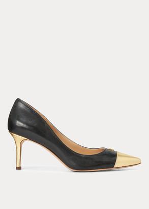 Ralph Lauren Lanette Leather Toe-Cap Pump