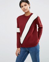 Asos Sweater With Diagonal Stripe Blocking