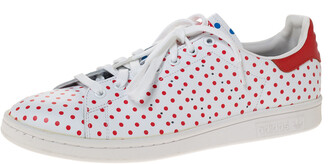 adidas Pharrell Williams Stan Smith SPD White/Red Polka Dot Leather Sneakers Size 46.5