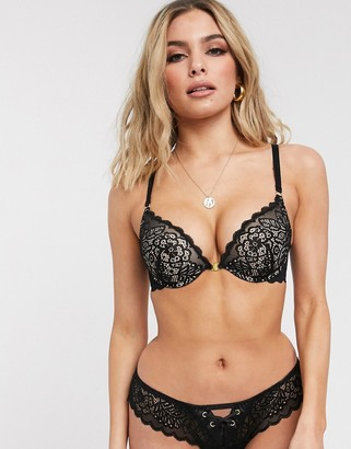 ASOS DESIGN Robyn lace padded underwire bra with front fastening