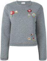 RED Valentino embroidered flower sweatshirt - women - Cotton/Polyurethane - L