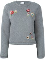 RED Valentino embroidered flower sweatshirt - women - Cotton/Polyurethane - S