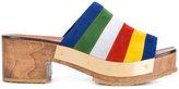 Rosetta Getty stripe clog mules - women - Leather/Calf Suede/rubber - 39