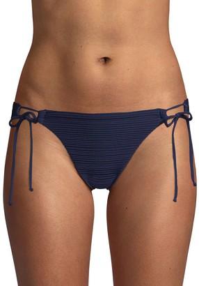 Robin Piccone Loop Tie Side Textured Bikini Bottom