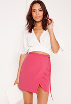 Missguided High Waisted Wrap Skirt Pink
