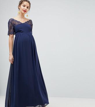 Asos DESIGN Maternity lace insert paneled maxi dress