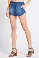 BCBGeneration Smocked-Waist Denim Short - Blue