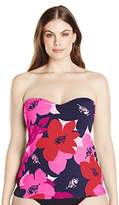 Anne Cole Women's Plus Size Full Bloom Bandeau Tankini