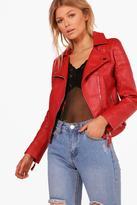boohoo Petite Lydia Quilted Sleeve PU Biker Jacket red