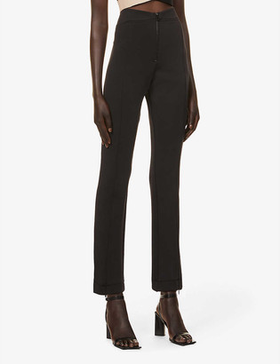 Good American Glam Exec straight-leg high-rise stretch-jersey trousers