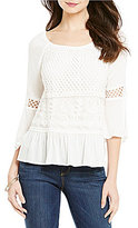 Democracy Off-The-Shoulder Bell Sleeve Lace Detail Woven Top