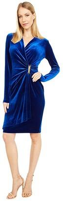 Calvin Klein Long Sleeve Ruched Velvet Dress with Side Tab (Sapphire) Women's Dress