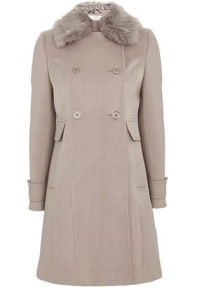 Wallis PETITE Stone Faux Fur Collar Coat