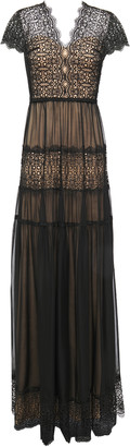 Catherine Deane Nyree Lace-paneled Gathered Chiffon Gown