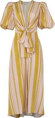 Silvia Tcherassi Fedelia Puff Striped Midi Dress