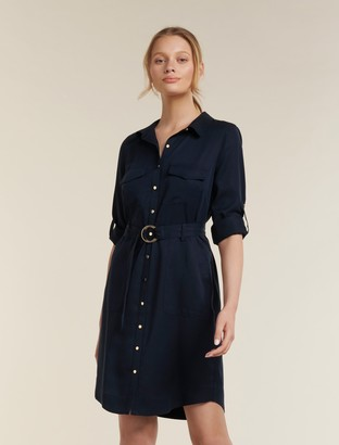 Forever New Portia Belted Shirt Dress - Navy Sails - 10