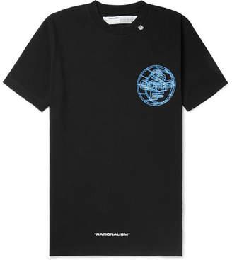 Off-White Off White Slim-Fit Logo-Print Cotton-Jersey T-Shirt