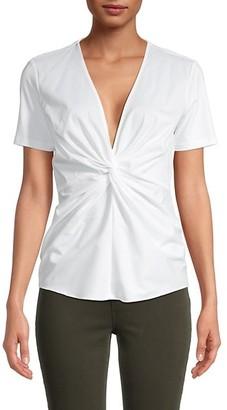 Donna Karan Twist Front Cotton-Blend Top