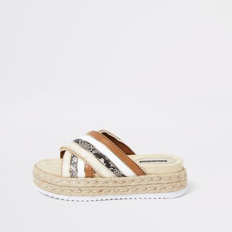 River Island Womens Brown cross strap espadrille sandals