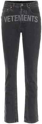 Vetements Logo high-rise straight-leg jeans