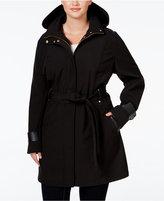 Via Spiga Plus Size Faux-Leather-Trim Hooded Water-Repellent Raincoat