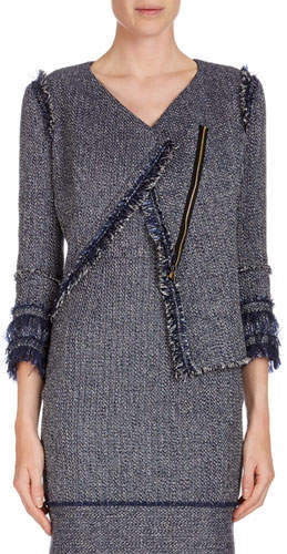 Roland Mouret Kirkham 3/4-Sleeve Tweed Jacket