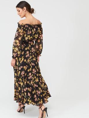 Warehouse Petal Print Puff Sleeve Bardot Midi Dress - Black