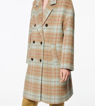 Andrew Marc PORTMORE DOUBLE-BREASTED WOOL PLAID COAT